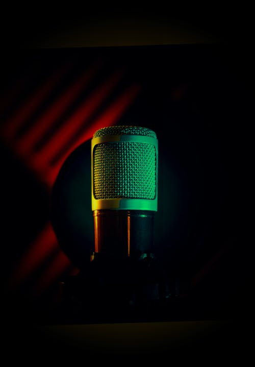 Black Microphone With Blue Light