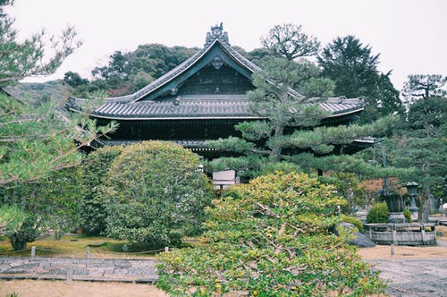 Green garden around old traditional oriental temple