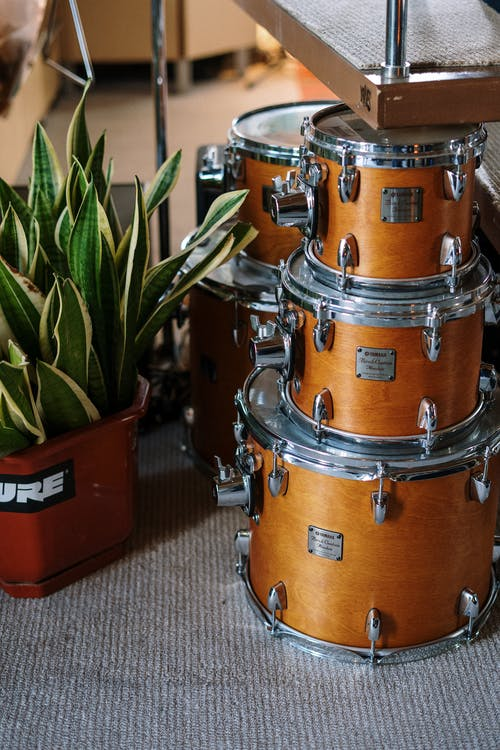 Brown and Silver Drum Set