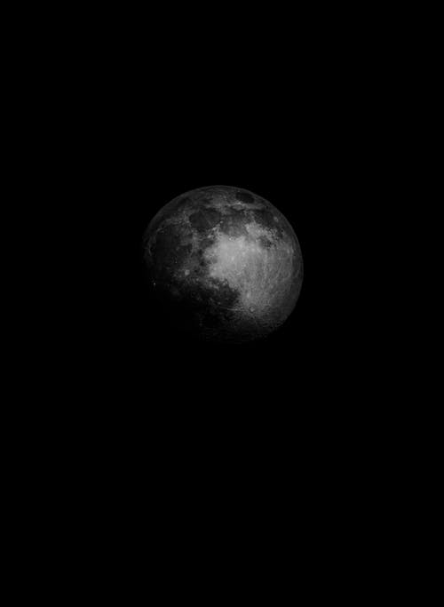 Grayscale Photo of Moon in Dark Room