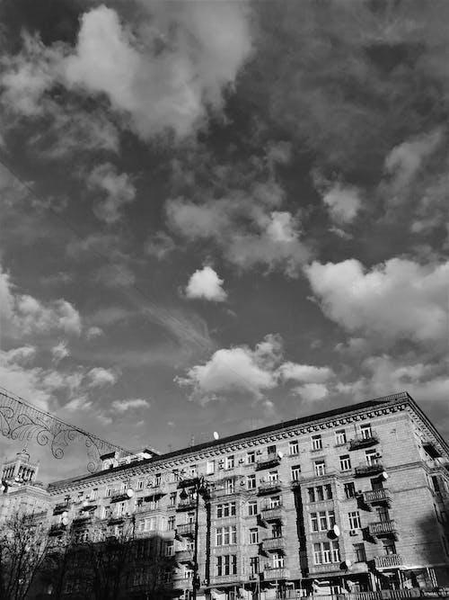 Free stock photo of b&w, beautiful sky, city sky, City Street