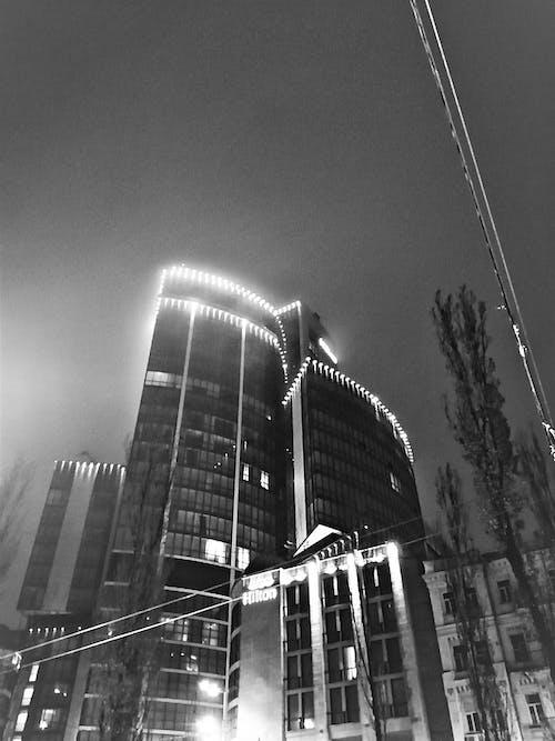 Free stock photo of b&w, city night, dark night, hotel