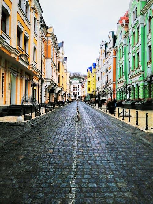 Ingyenes stockfotó kijev, macskaköves utca, színes témában