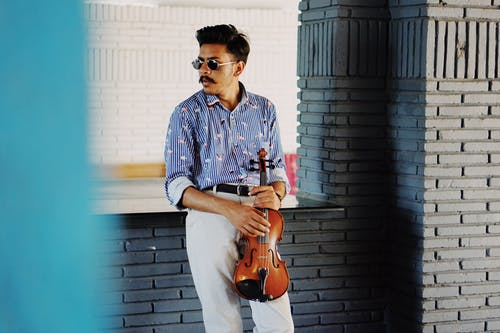 Stylish Indian man with violin in modern room