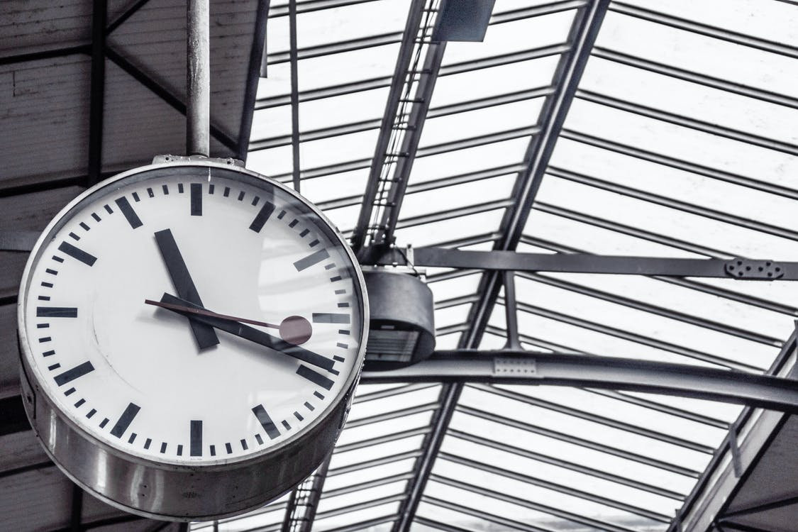Train Station Clock Displaying 11:19
