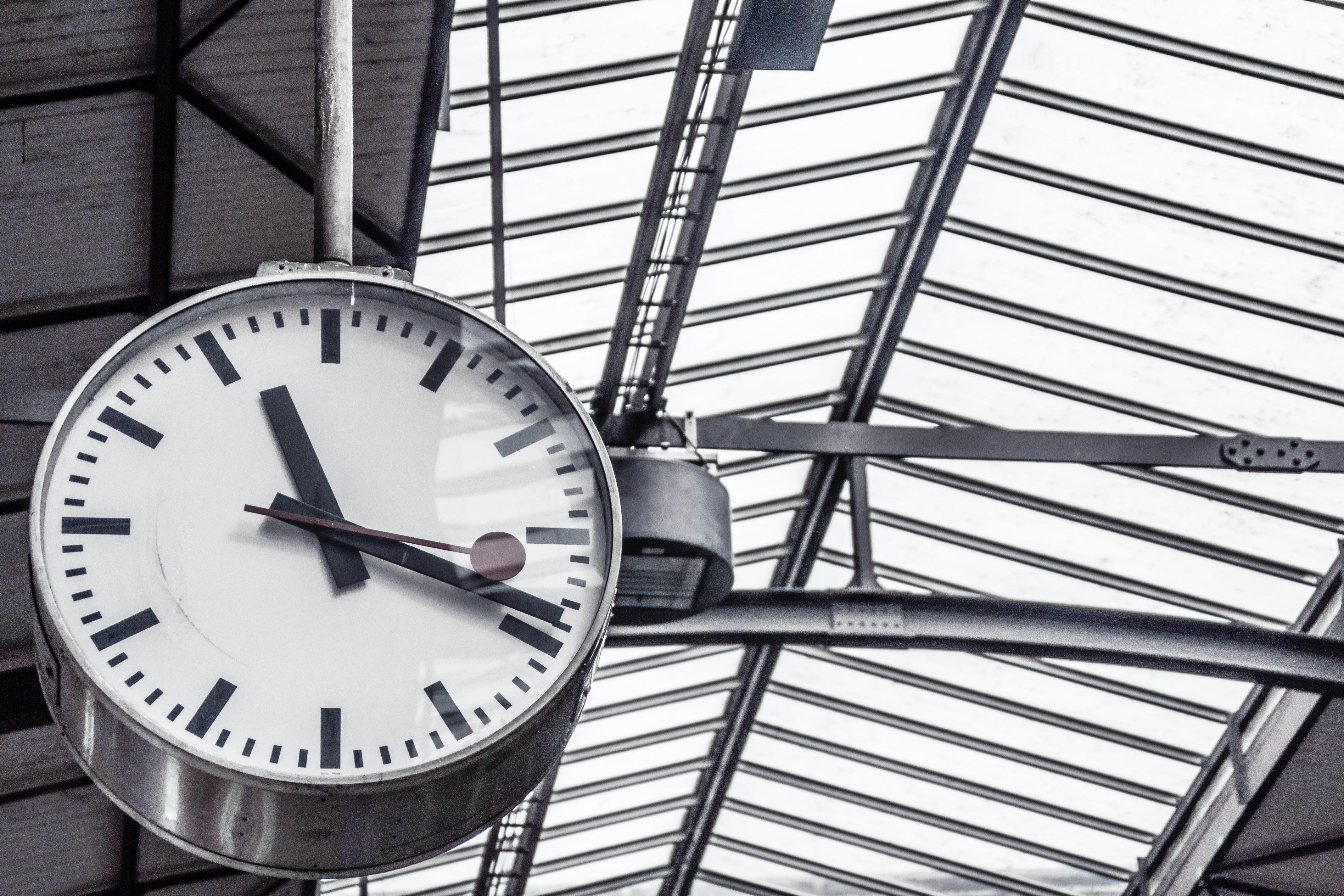 Train Station Clock Displaying 11 19 183 Free Stock Photo