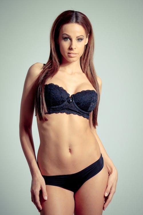 Woman in Black Bra and Underwear