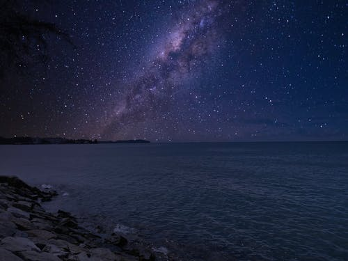 Amazing starry sky with Milky Way galaxy over sea at night
