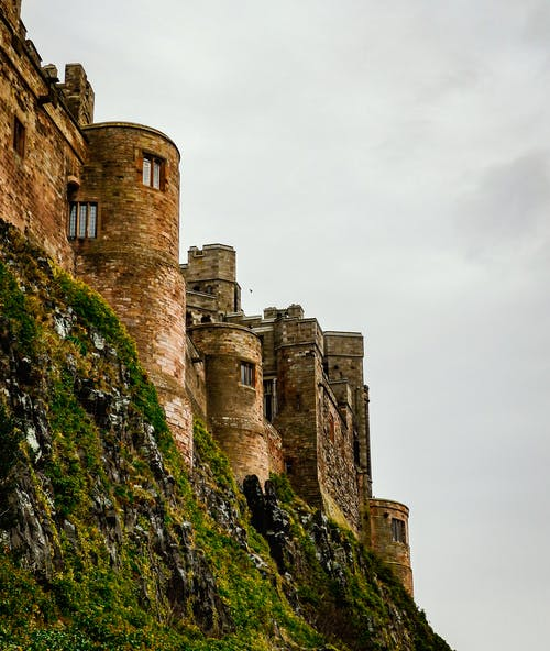 Low Angle View of Bamburgh Castle