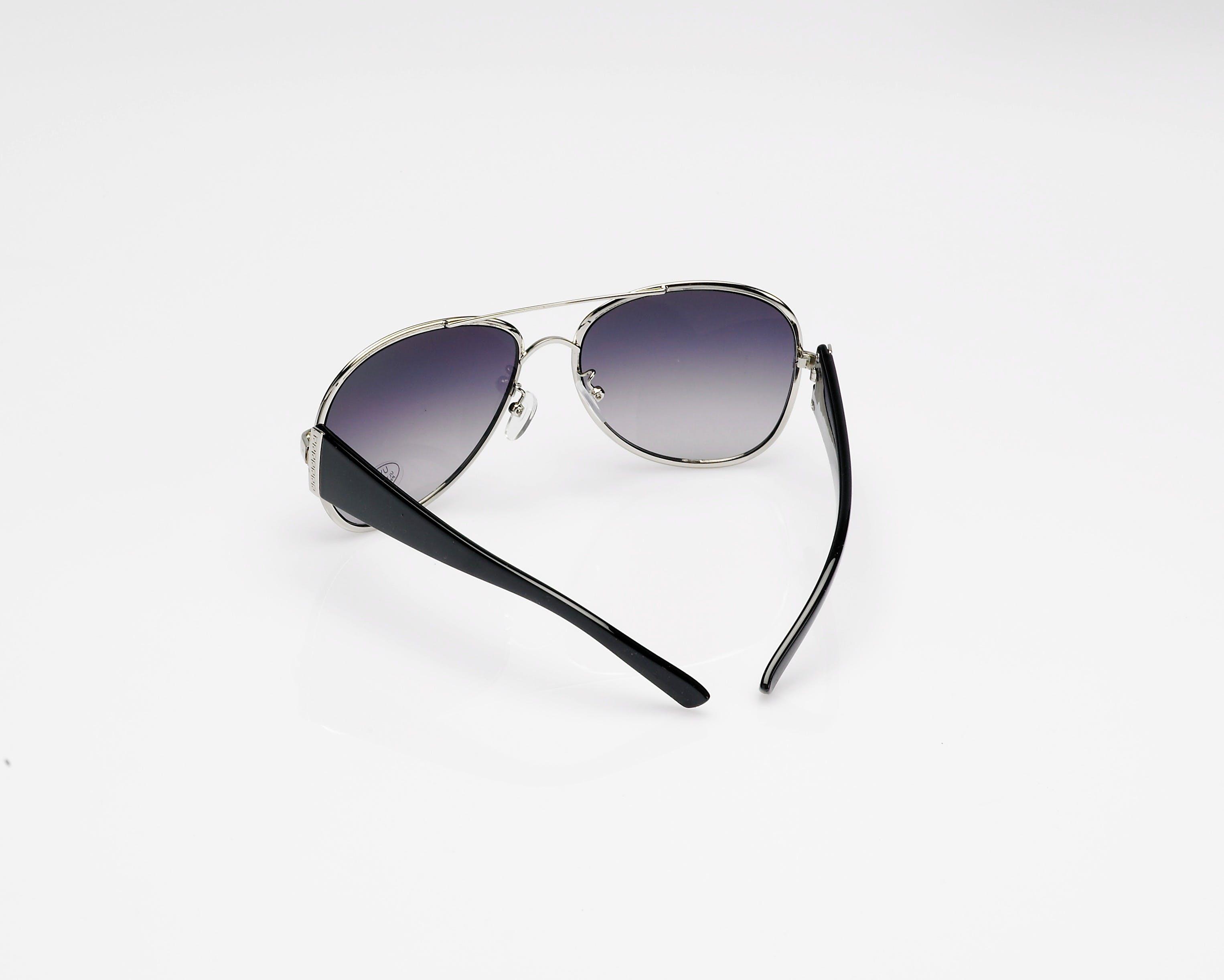 Black Grey Framed Aviator Style Sunglasses
