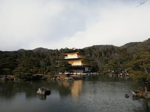 Buddhist Temple of Golden Pavilion on lake shore