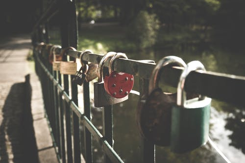 Several Padlocks on Bridge
