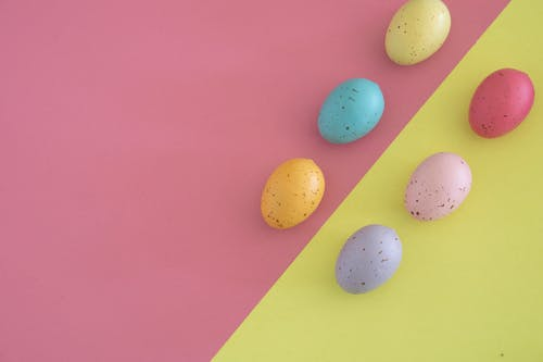 White and Yellow Egg on Pink Surface