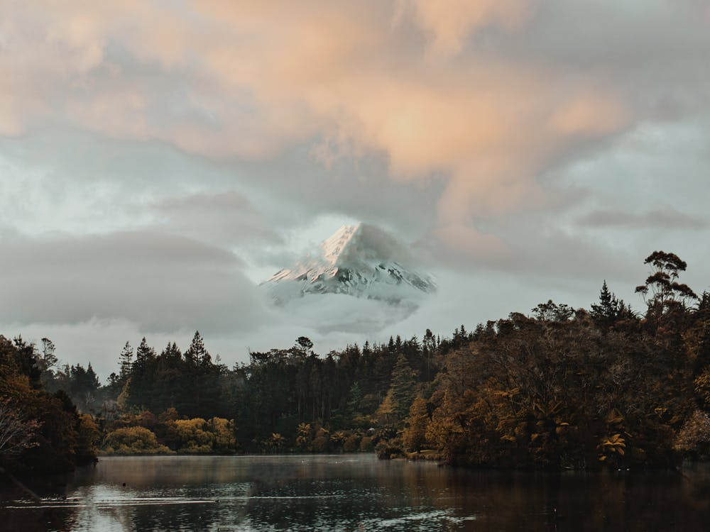 Snowy Mountain Peak Covered by Clouds