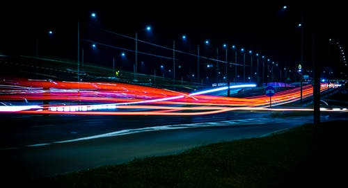 Time-lapse Photo of Highway at Nighttime