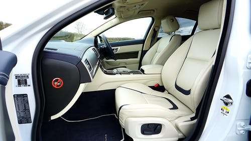 White and Black Car Interior