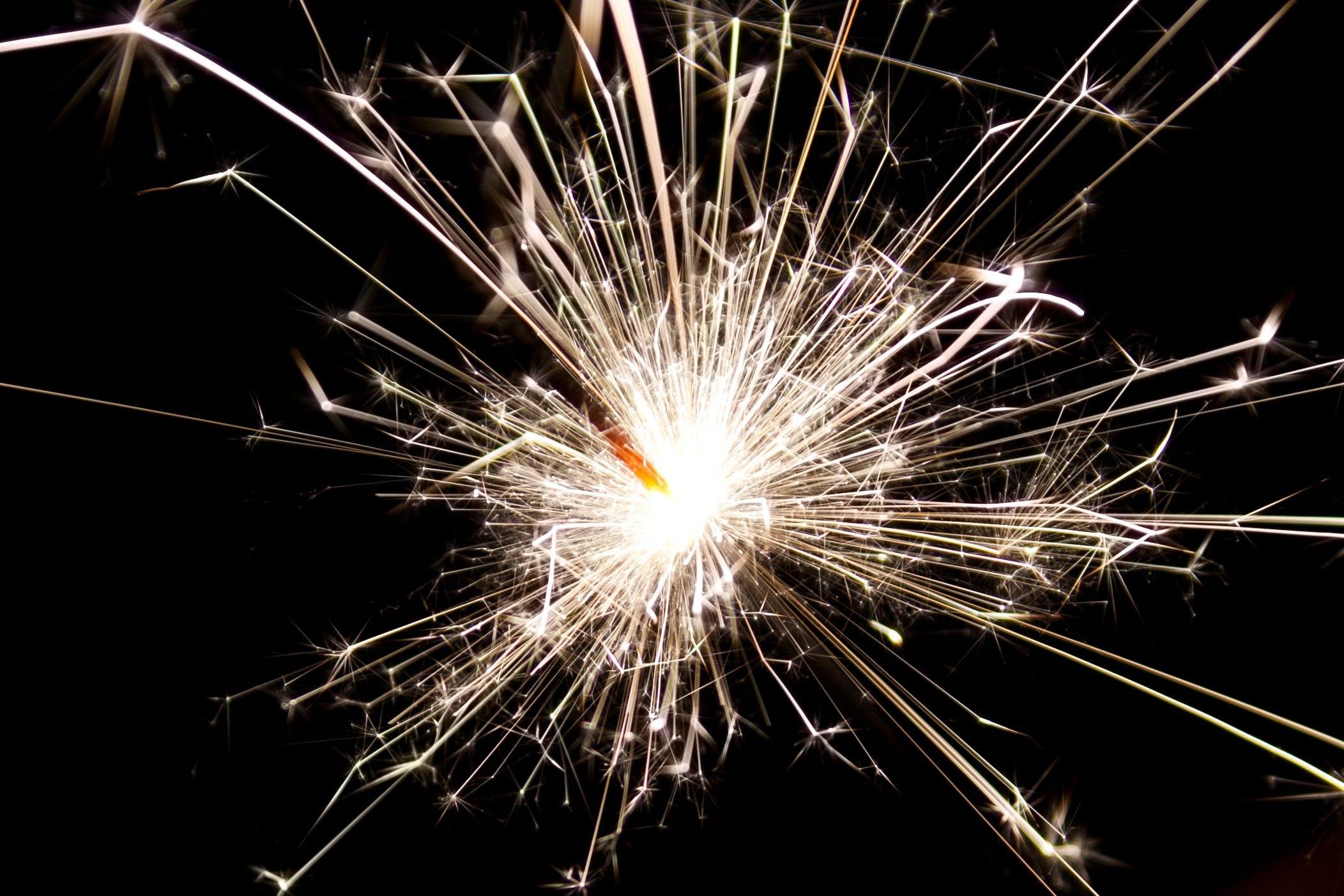 White Sparkler during Night Time
