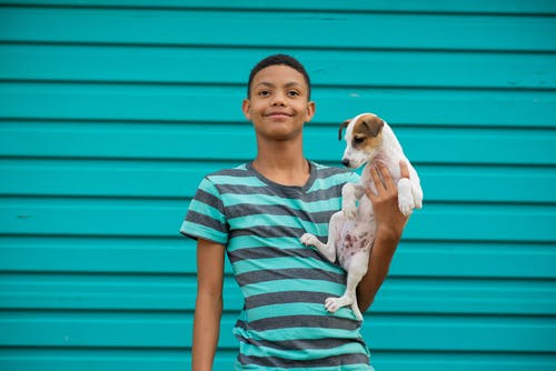 Boy in Gray and Green Striped Crew Neck T-shirt Carrying White Short Coated Small Dog