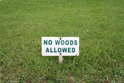White No Woods Allowed Sign on Green Grass Field