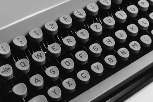 Black and White Typewriter Keyboard