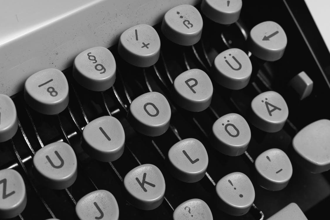 Black and White Typewriter Keyboard