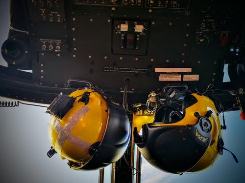 Free stock photo of helmets in cockpit