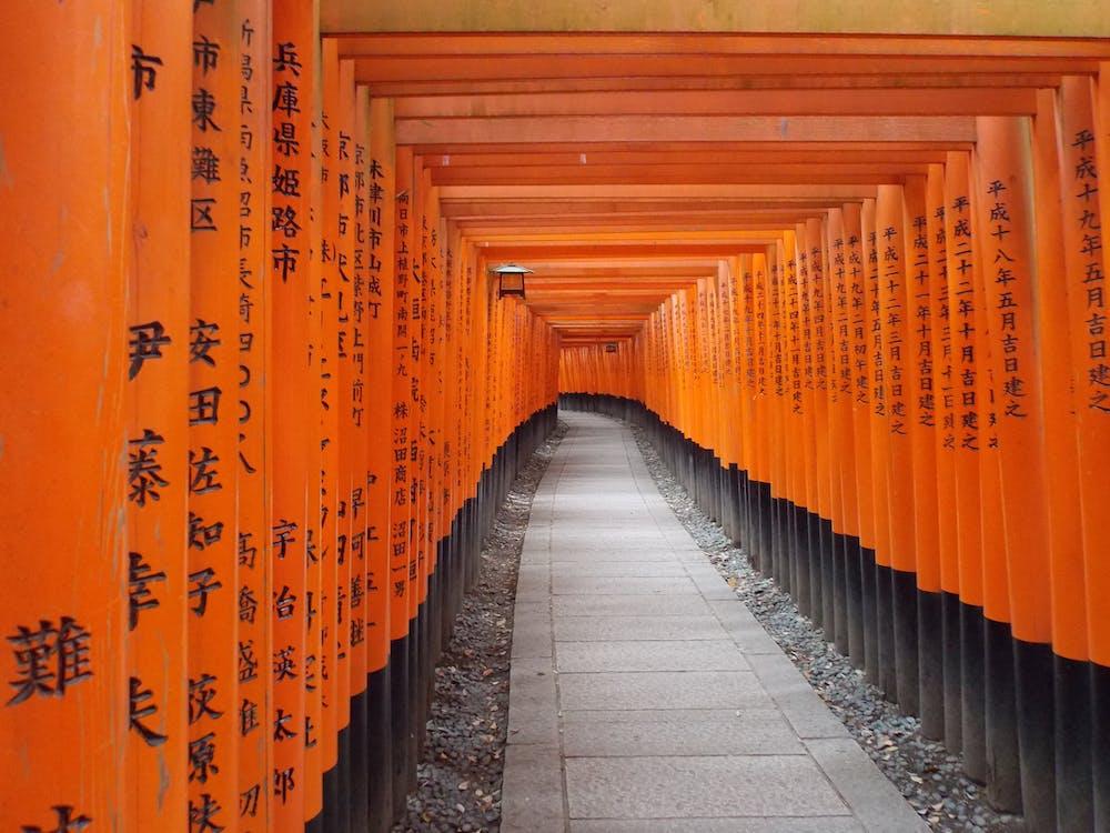 Traditional orange passage leading to Japanese Inari temple