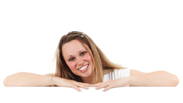 Woman in White T Shirt Smiling