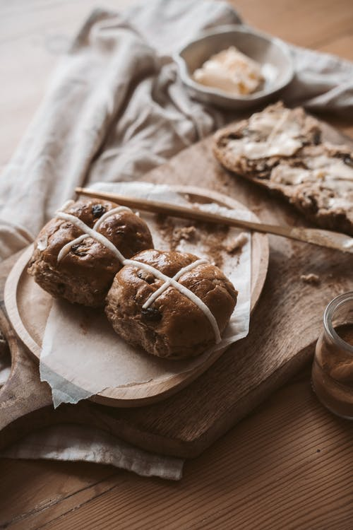 Brown Bread Buns on Wooden Plate