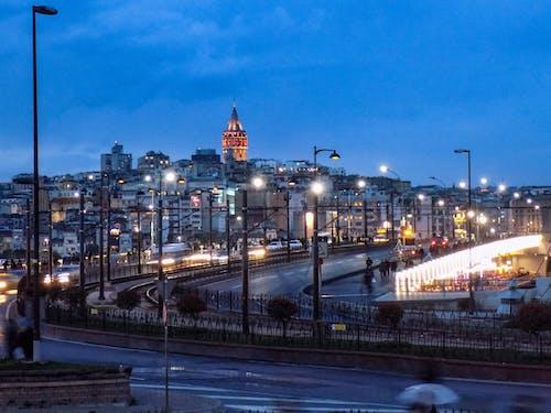 Free stock photo of city night, galata, galata bridge