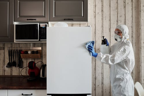 Photo Of Person Disinfecting The Kitchen