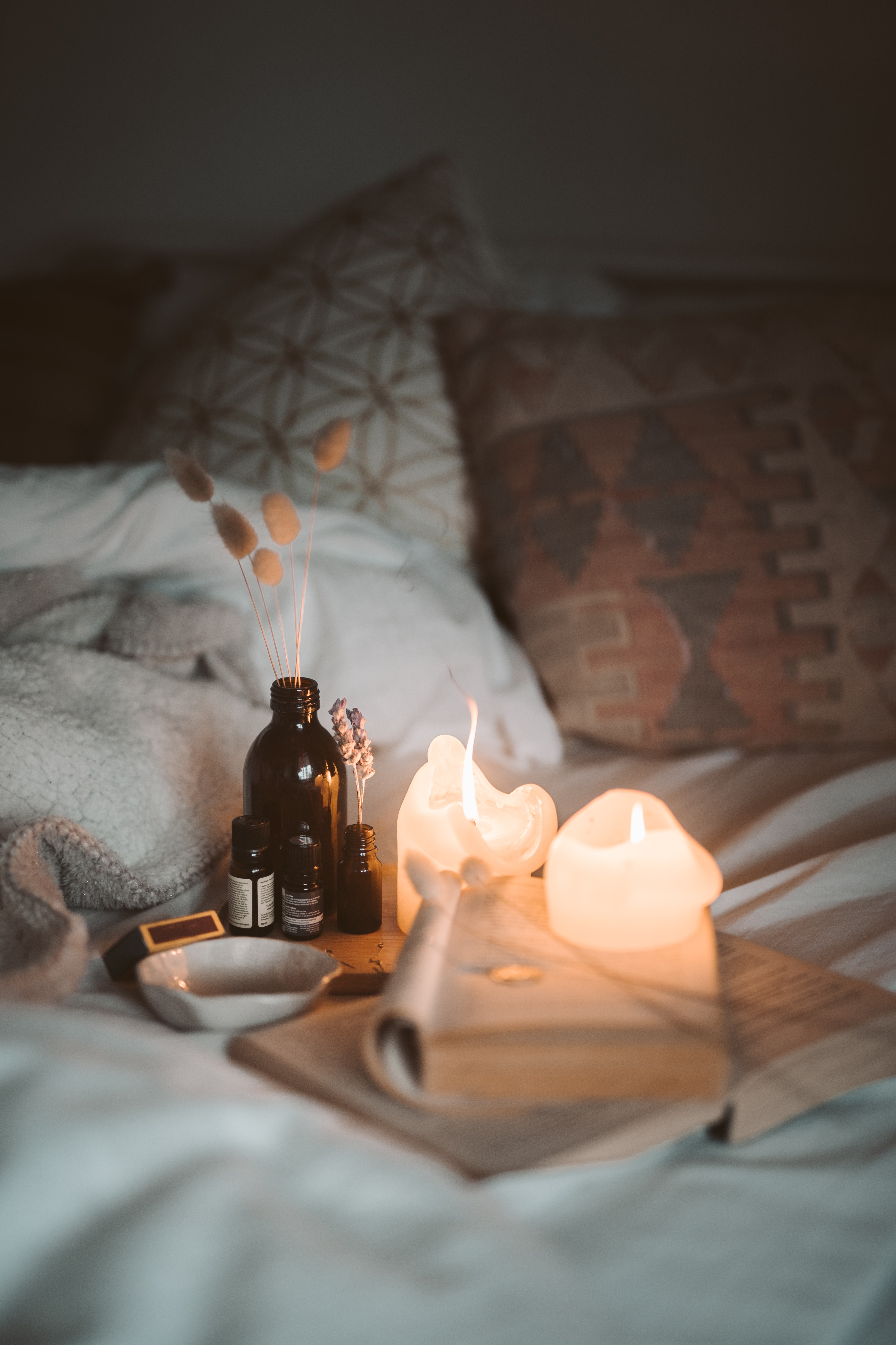 Lighted Candles In The Bedroom · Free Stock Photo