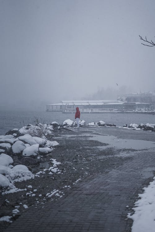 Person in Red Jacket Standing Near Body of Water On A Cold Day