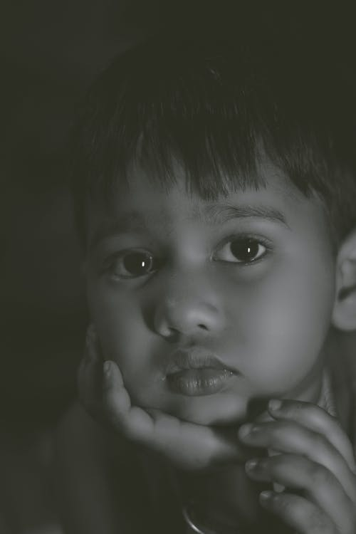 Monochrome Photo Of Child