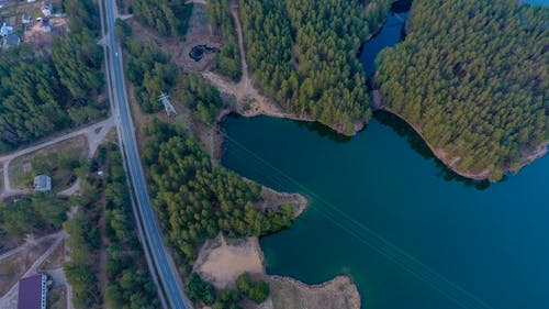 Free stock photo of blue lake, drone camera, forest