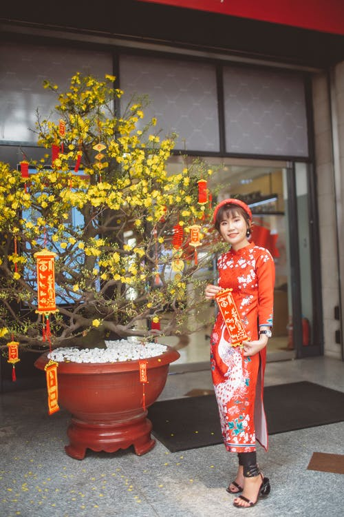 Woman in Red and White Floral Traditional Dress Standing Beside Green Plant