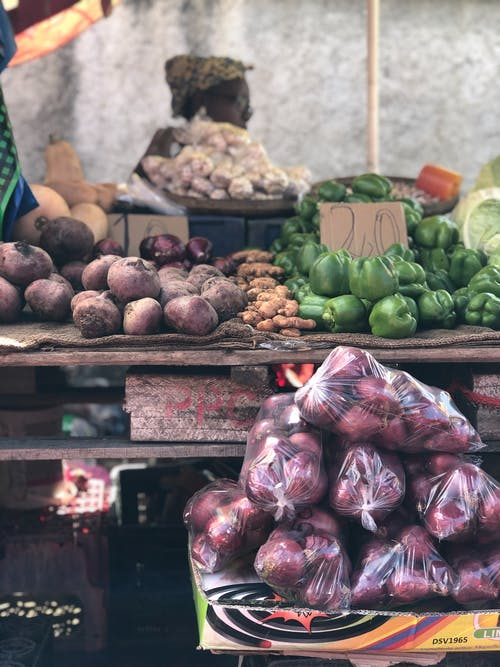 Assorted fresh raw vegetables for sale in local street market