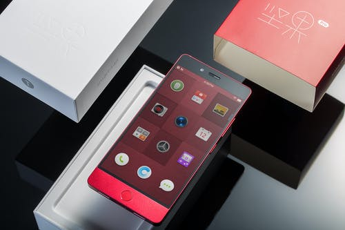 Red Android Smartphone With Box