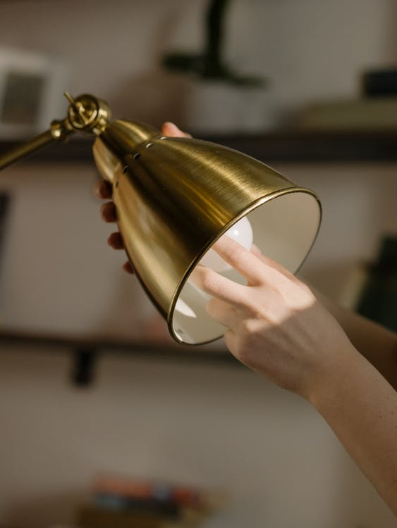 Gold and White Desk Lamp