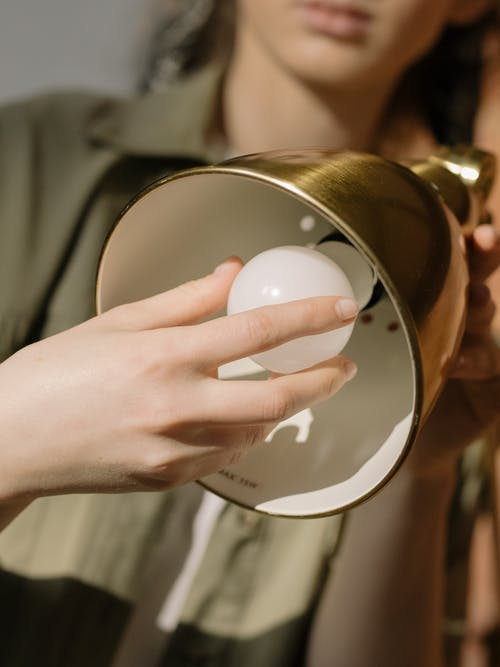 Person Holding White Egg on Gold Round Plate