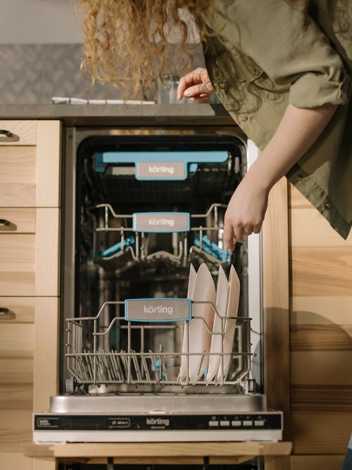 Person in Green T-shirt Holding Dishwasher