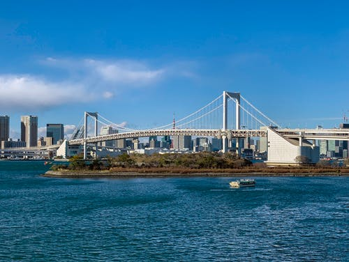 Contemporary Tokyo city skyline and Rainbow Bridge over calm river on clear summer day