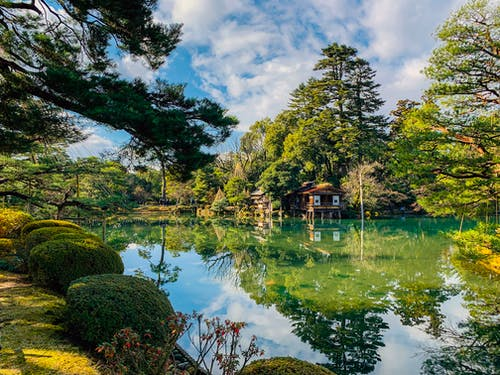 Magnificent scenery of remote cottage on calm pond shore