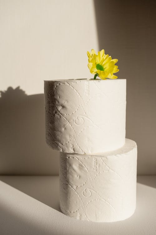 Close-Up Shot of Stack of Tissue Paper Rolls