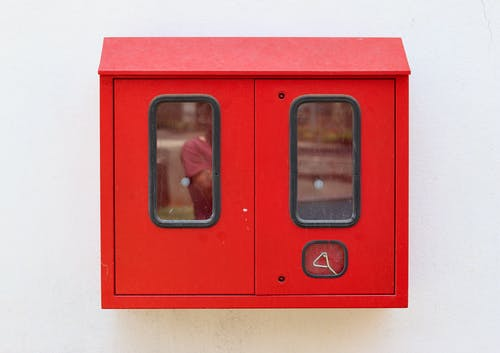 Free stock photo of fire extinguisher, fire hose, minimal design
