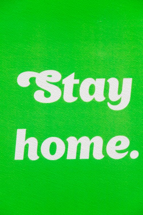 Stay Home Wallpaper On Green Background