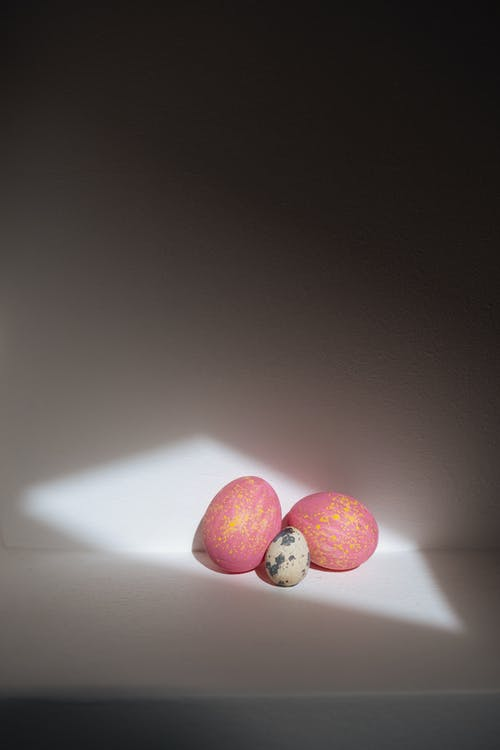 Pink Easter Eggs and a Quail Egg
