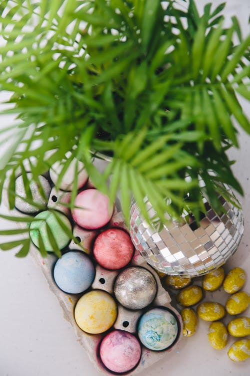 Easter Eggs and Disco Ball next to a House Plant