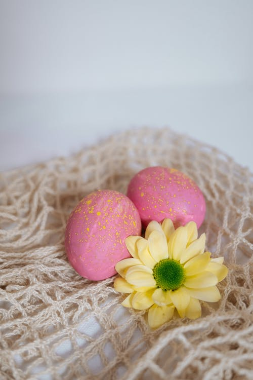 Pink Easter Eggs and Yellow Flower