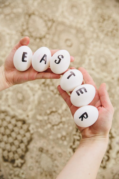 Eggs With Letters Spelling Easter